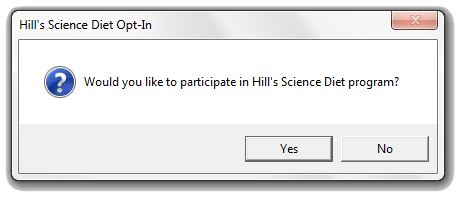 Hills Science Diet Opt In Prompt